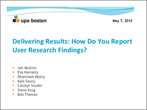 Bob Thomas, Delivering User Research Results, Usability, Usability Research, User Experience, User Experience Research